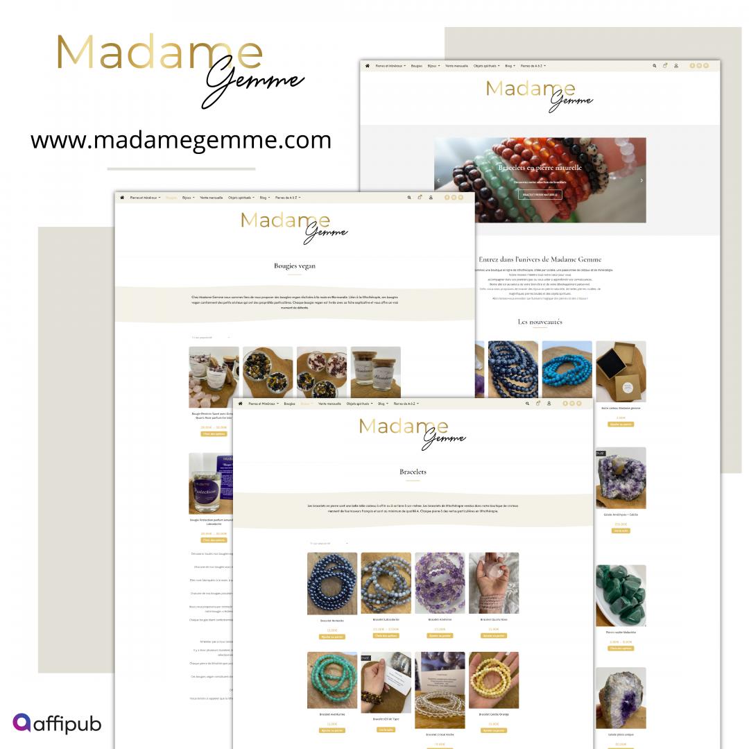 Site internet e-commerce Madame Gemme
